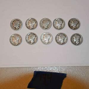 Lot # 144 Ten MERCURY 90% silver dimes