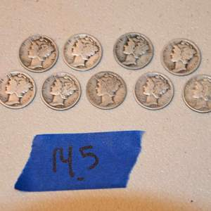 Lot # 145 Nine MERCURY 90% silver dimes