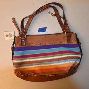 Lot # 152 FOSSIL Leather ATHENS SATCHEL purse *NEW WITH TAGS*