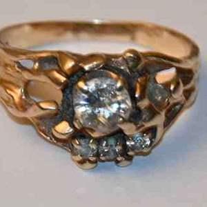 Lot # 156 14K yellow gold & diamonds size 10 ring 7.6g