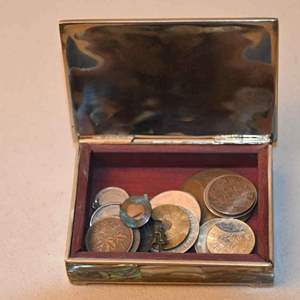 Lot # 183 Abilone Mexican trinket box with coins & misc.