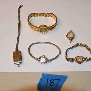 Lot # 187 Vintage ladies watches, most 10k rolled gold plate