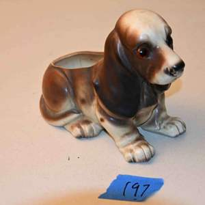 Lot # 197 Vintage Japan Basset hound with glass eyes ceramic pot