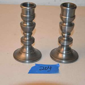"""Lot # 204 Moltistone matching pair Crown & Rose Cast Pewter 5"""" Candle Holders Heavy"""