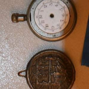 Lot # 210 Antique pendulum weight & porcelain face pocket watch