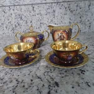 Lot #21 JK Decor/Carlsbad Love Story Tea Set - Pair of Demitasse Cups & Saucers, Sugar Bowl and Creamer