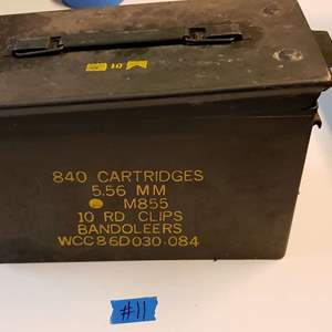 Lot # 11 Metal Munitions Box w/ Mixed Munitions