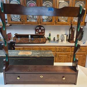 Lot # 54 Wooden Gun Rack (drawer at the bottom locks-no key)