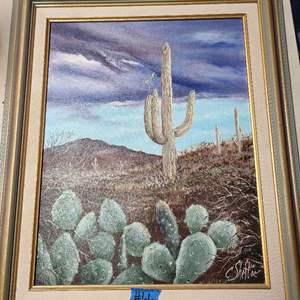Lot #66 C. Shettie Desert Painting on Canvas - Framed