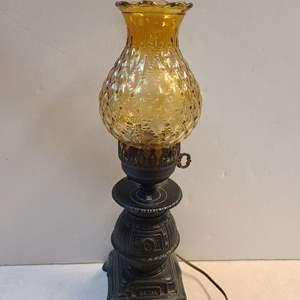Lot # 67 Metal Bottom Lamp W/ Vintage Yellow Glass Shade