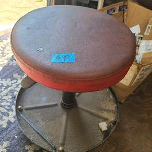 Lot # 99  Red Work Stool