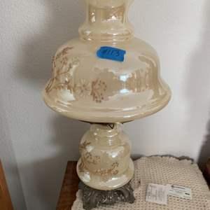 Lot # 113 Vintage Hurricane Lamp (Iridescent Glass)
