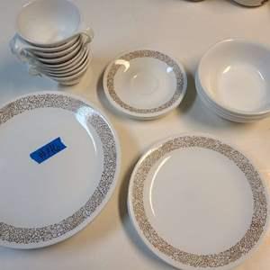 Lot # 146 Vintage Corelle Woodland Brown Pattern Dishes