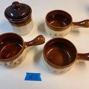 Lot # 171 Vintage Stonewear Individual Soup Pots & Canister