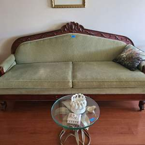 Lot # 1 Antique Green Tone Wood Accent Couch