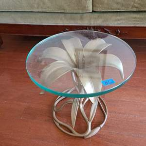 Lot # 6 Metal Lilly Table With Glass Top