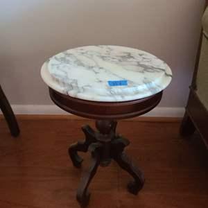 Lot # 7 Small Mahogany Table With Italian Marble Top