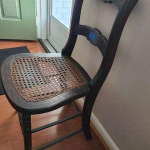 Lot # 12 Antque Wood and Corded Seat Chair