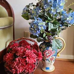 Lot # 16 Lot of Decorative Flowers in Vase and Basket