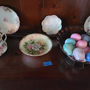 Lot # 25 Basket of Colored Marble Eggs and Decorative House ware