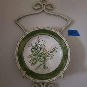 """Lot # 27 American Atelier Plate in Metal Wall Hanger """"Bouquet Garni"""""""