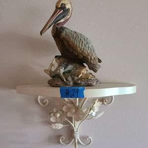 Lot # 29 Brown Pelican By Andrea hy Sadek on Metal Hanging Shelf
