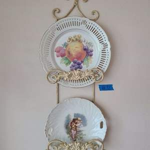 Lot # 31 Lot of 2 Porcelain Plates In Metal Wall Hanger