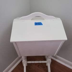 Lot # 42 White Wood Standing Storage Box w Art Supplies