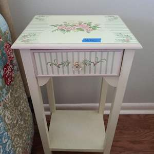 Lot # 45 Floral Decorative Side Table w Drawer