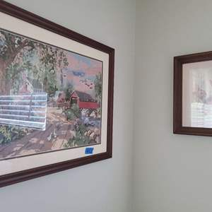 Lot # 53 Lot of 4 Lithograph Pictures and Hanging Wicker and Metal Basket