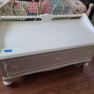 Lot # 55 White Painted Cedar Chest on Wheels