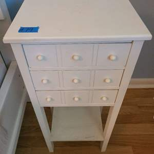 Lot # 79 White Wood End Table With Three Drawers