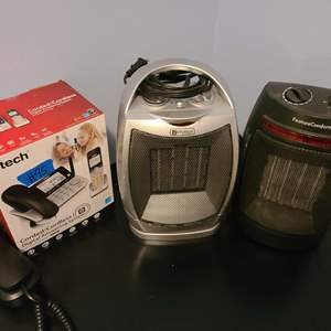 Lot # 95 Lot of 2 Small Heaters and V tech Phone