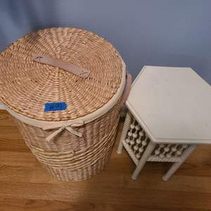 Lot # 99 Wicker Basket and Small Wooden Sitting Stool