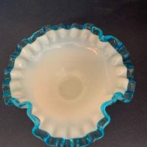 Lot # 116 Fenton Candy Dish (Clear Blue Ruffle Edge)