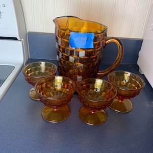 Lot # 121 Amber Depression Glass Pitcher & 4 Cups