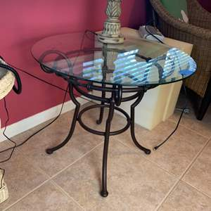 Lot # 131 Metal Bottom Side Table With Glass Top