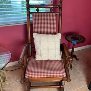Lot # 138 Vintage Wood Rocking Chair W/ Cushions