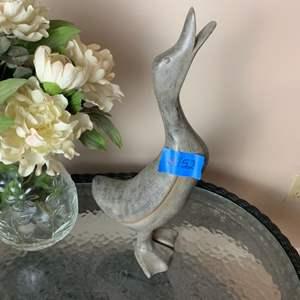 Lot # 152 Glass Vase W/ Faux Flowers & Duck Statue