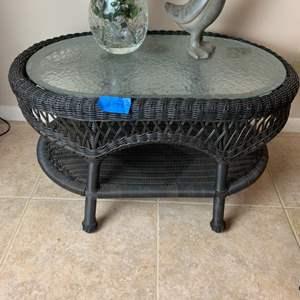 Lot # 153 Rattan Table W/ Glass Insert