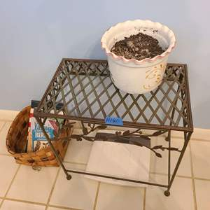 Lot # 180 Small Metal Decorative Hall Table w Wicker Basket, Small planter, and Scale