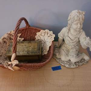 Lot # 183 Johnston's Metal Tin, Wicker Basket with Dollies & Small Girl Statue