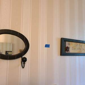 Lot # 190 Hanging Wall Mirror w/Holders and Sign