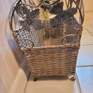 Lot # 191 Wicker and Metal Leaf Basket