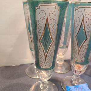 Lot # 205 Lot of Colorful Glasses and Colored Glass Stem Ware