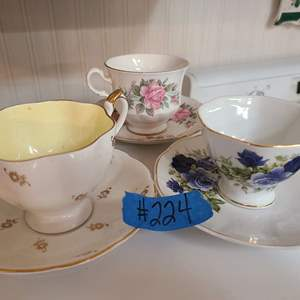 Lot # 224 Lot of 3 Different Tea Cups