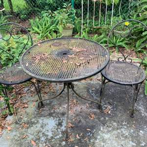 Lot # 245 Metal Outdoor Table And Chairs