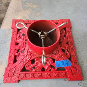Lot # 264 Red Painted (cast Iron?) Christmas Tree Stand