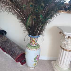Lot # 2 Large Vase W/ Peacock Feathers