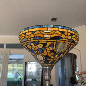 Lot # 4 Tiffany style stained glass Tall Floor Lamp w/Decorative Shade